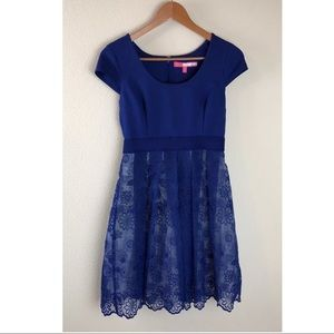 Plenty by Tracy Reese Blue Dress with Lace ~Size 4